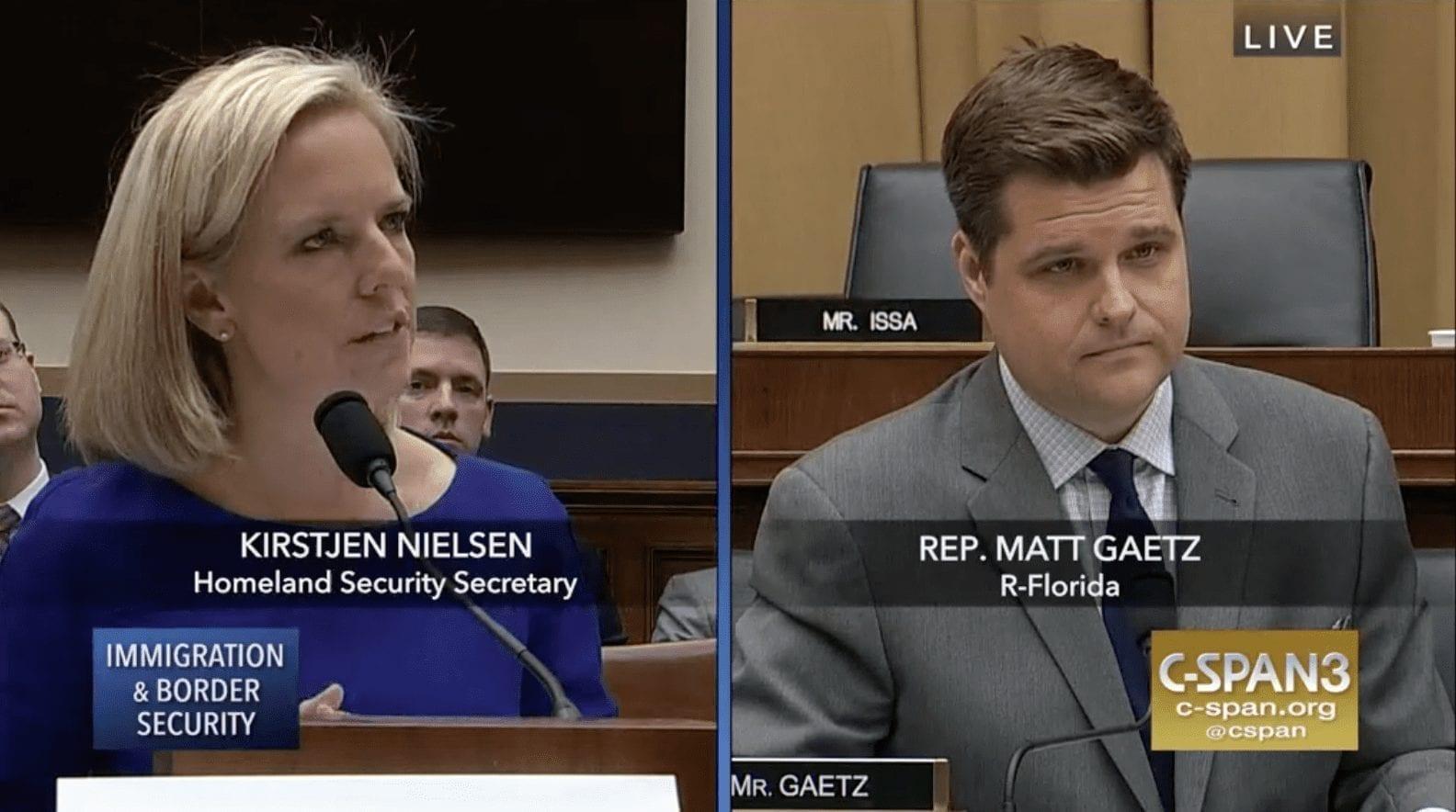 Homeland Security Secretary Kirstjen Nielsen Rep. Matt Gaetz