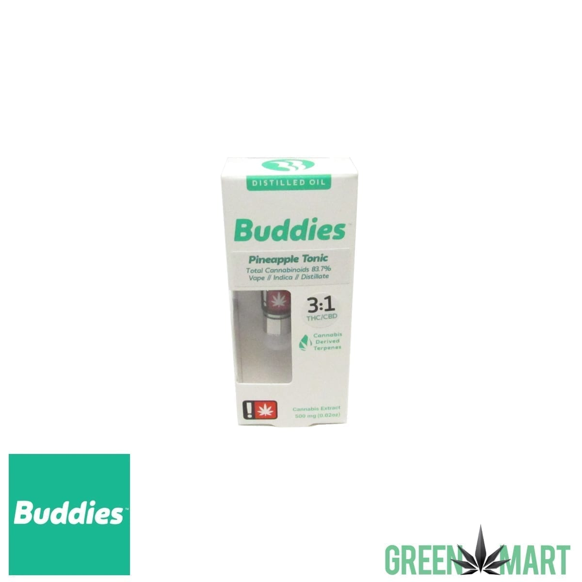 Buddies Brand Distillate Cartridge - Pineapple Tonic