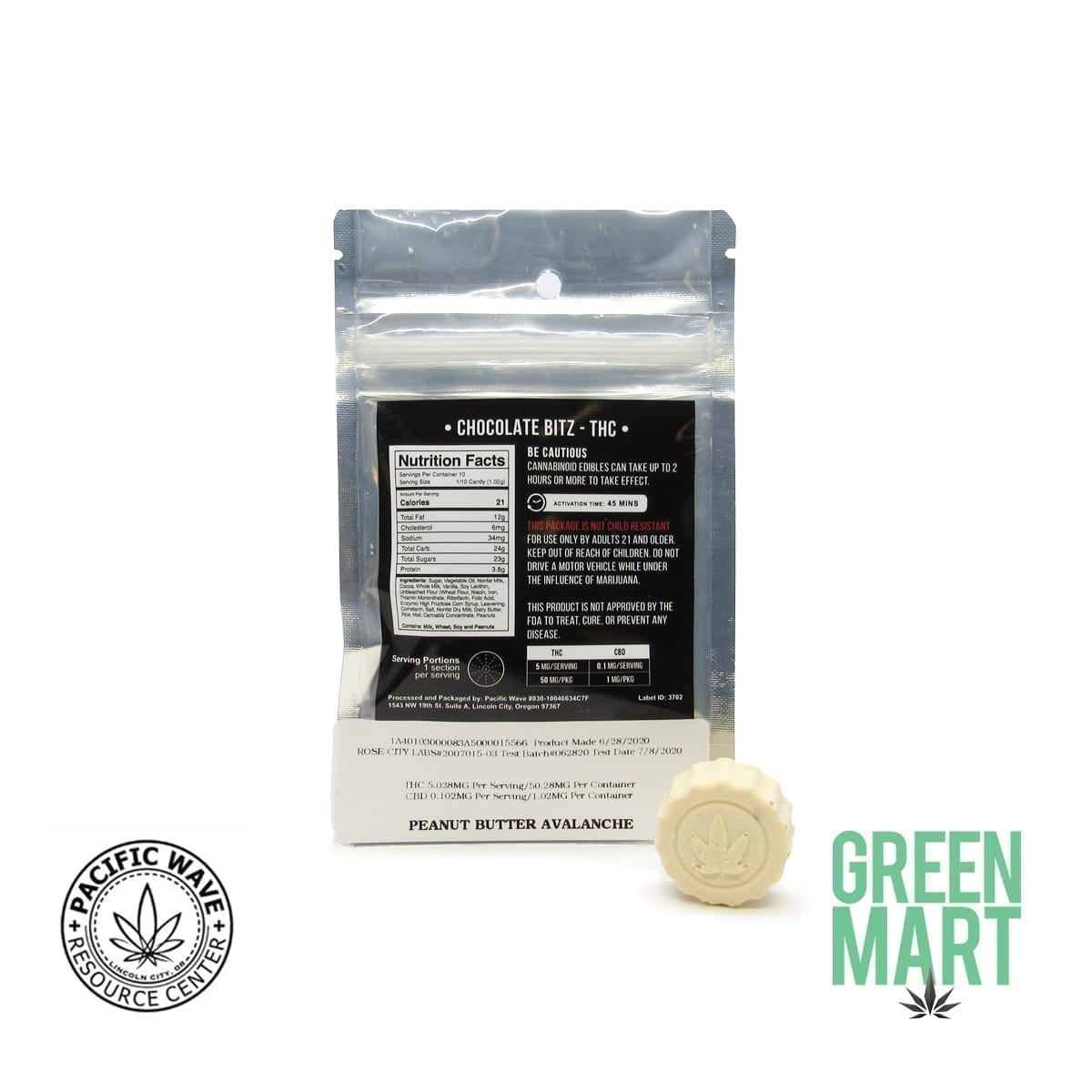 Pacific Wave Edibles - THC Chocolate Bar Peanut Butter Avalanche