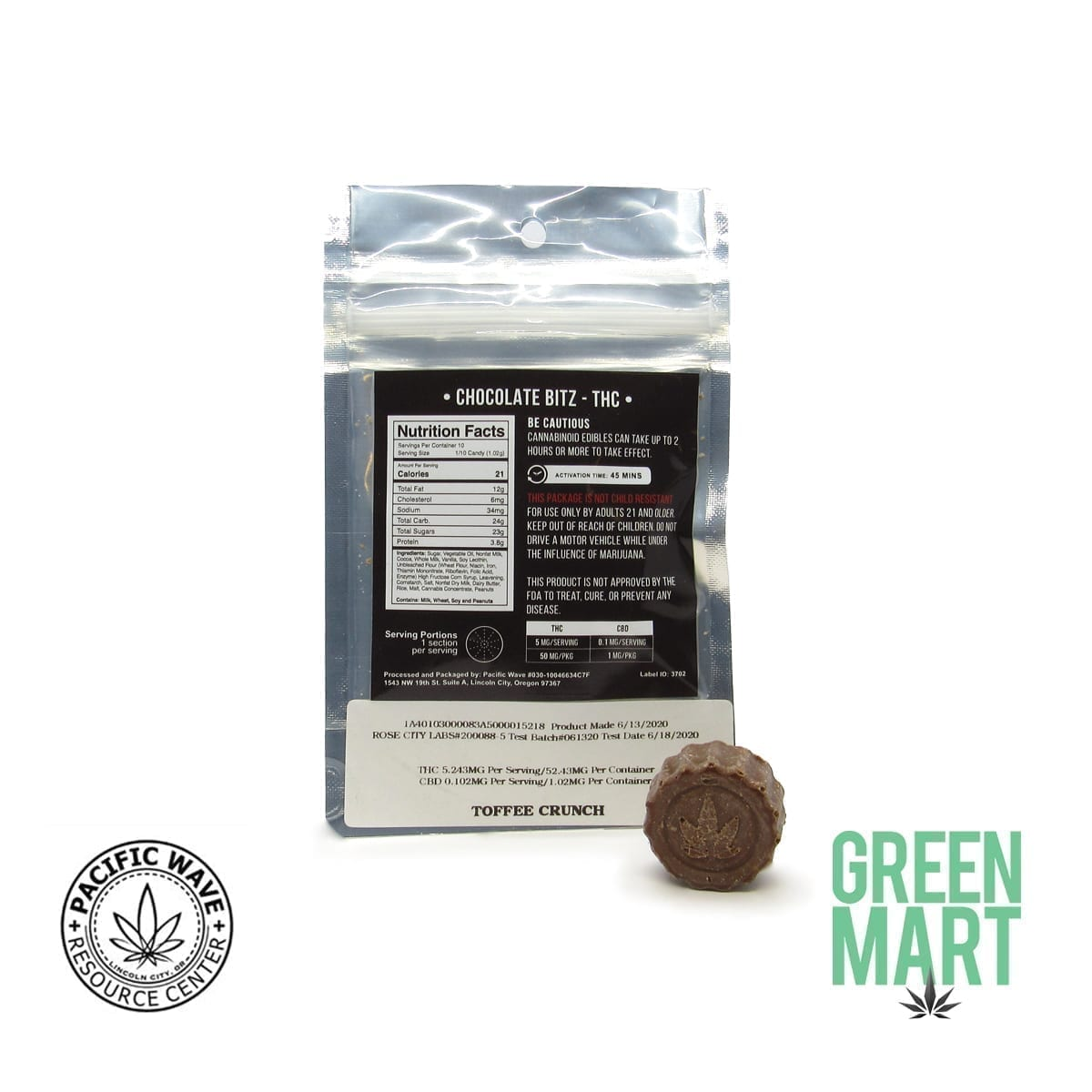 Pacific Wave Edibles - THC Chocolate Bitz – Toffee Crunch