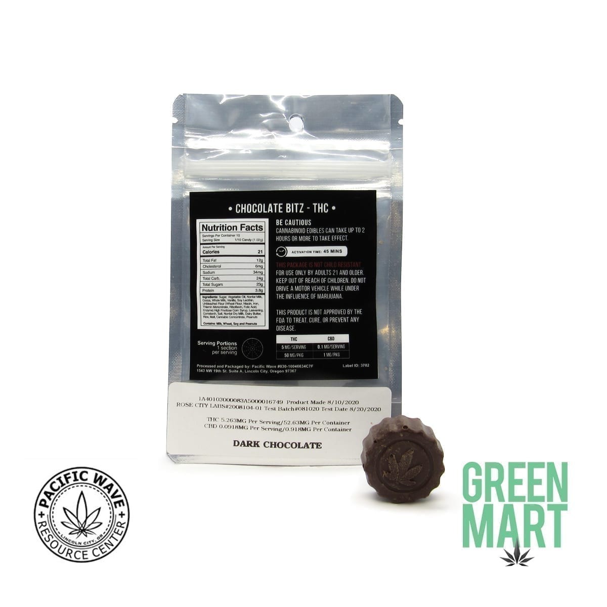 Pacific Wave Edibles - THC Chocolate Bitz – Dark Chocolate