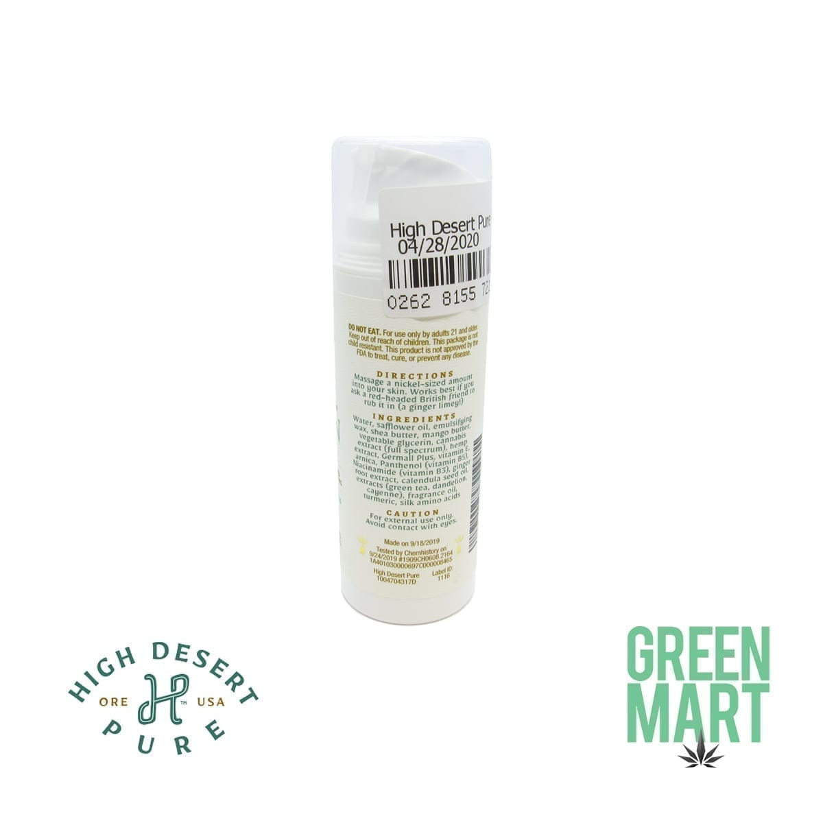 High Desert Pure Lotion Ginger Lime Back