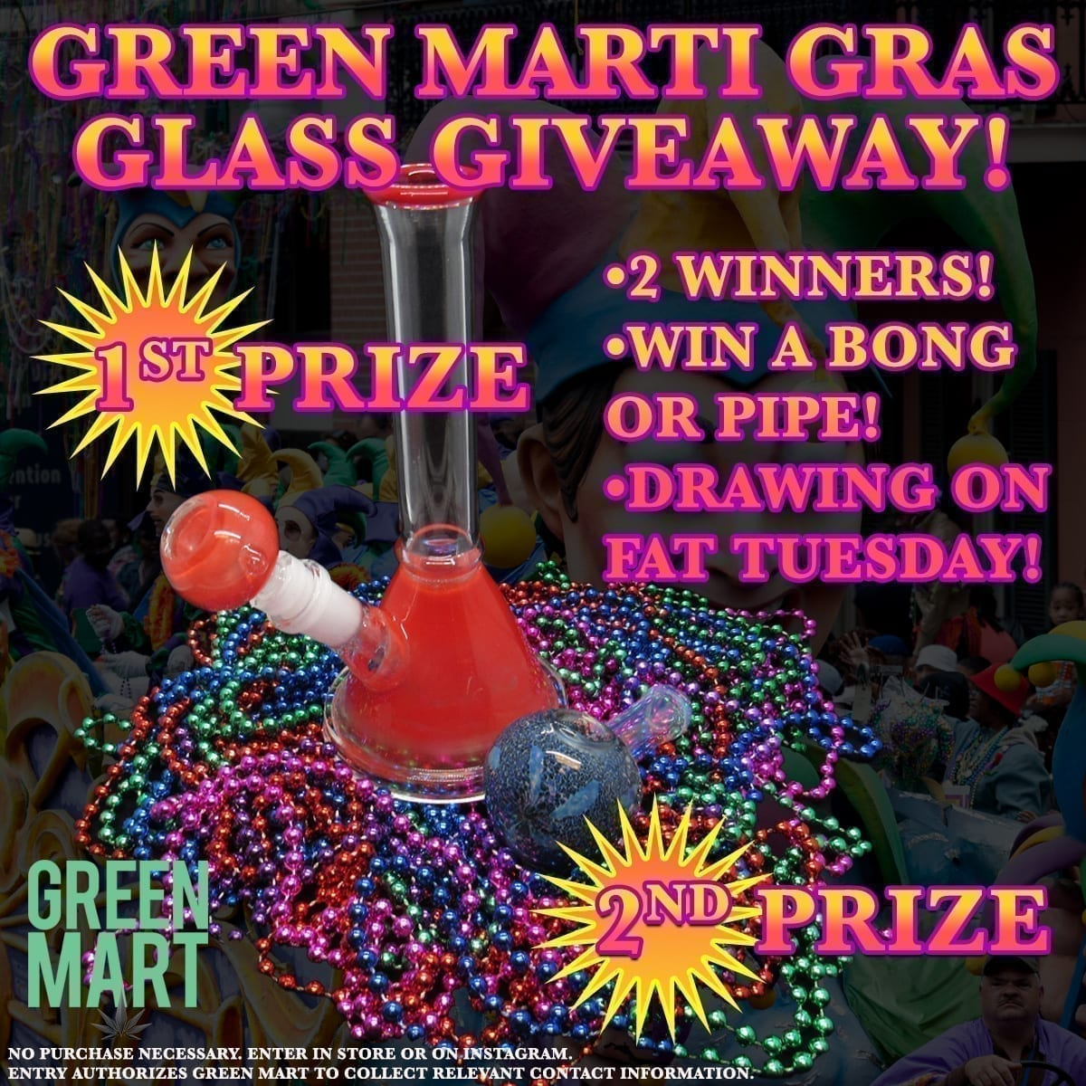green marti gras glass giveaway square