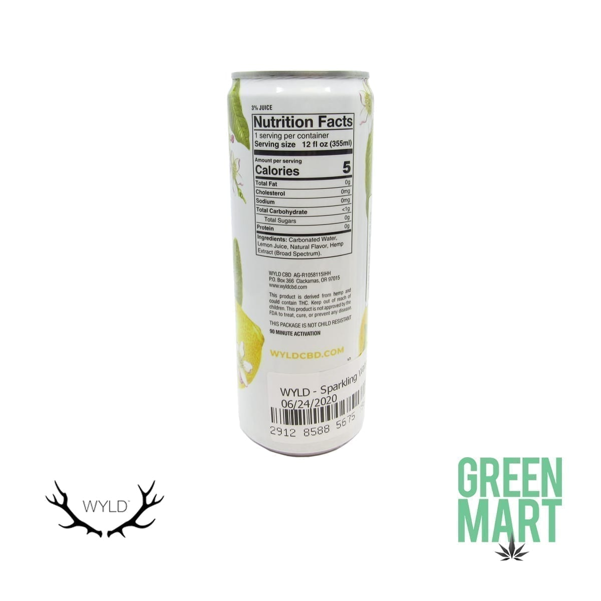 Wyld Lemon CBD Sparkling Water Nutrition Facts