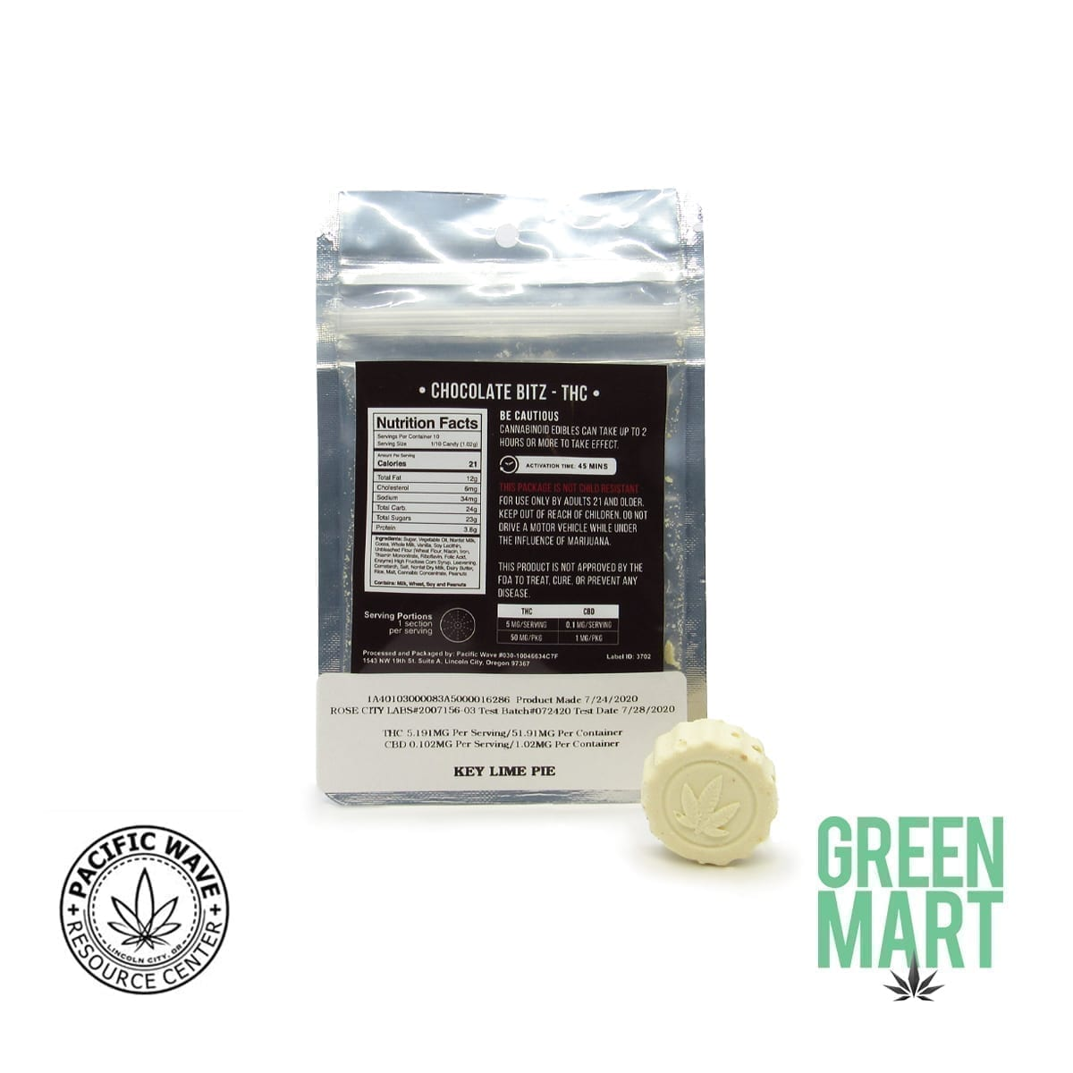 Pacific Wave Edibles - THC Chocolate Bitz – Key Lime Pie