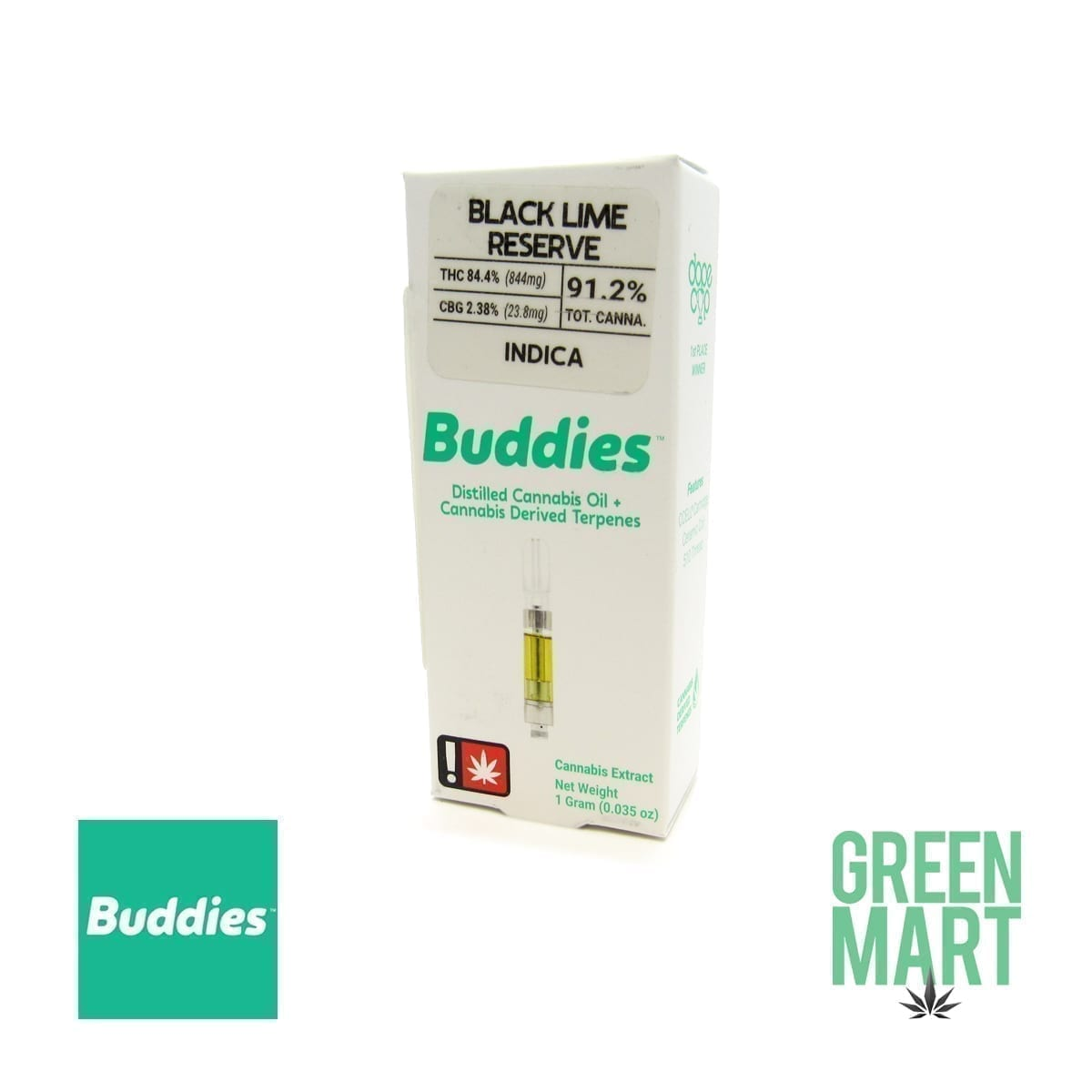 Buddies Brand Distillate Cartridge - Black Lime Reserve