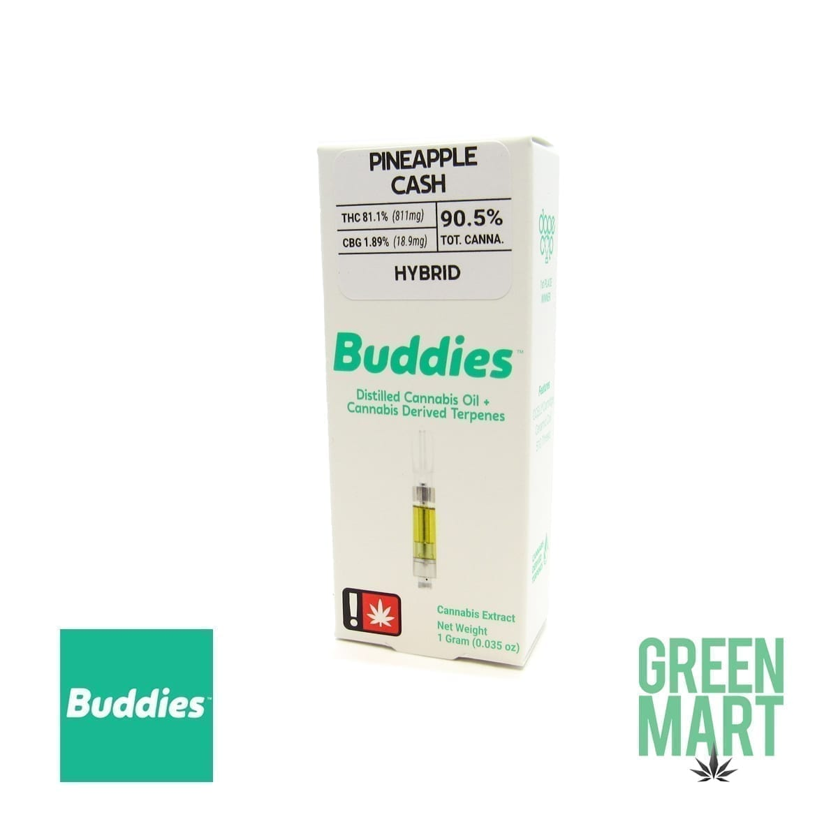 Buddies Brand Distillate Cartridge - Pineapple Cash