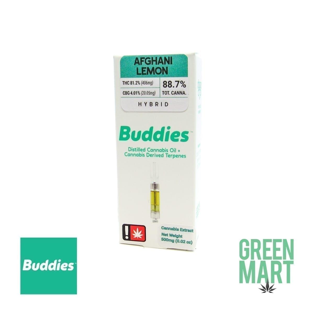 Buddies Brand Distillate Cartridge - Afghani Lemon