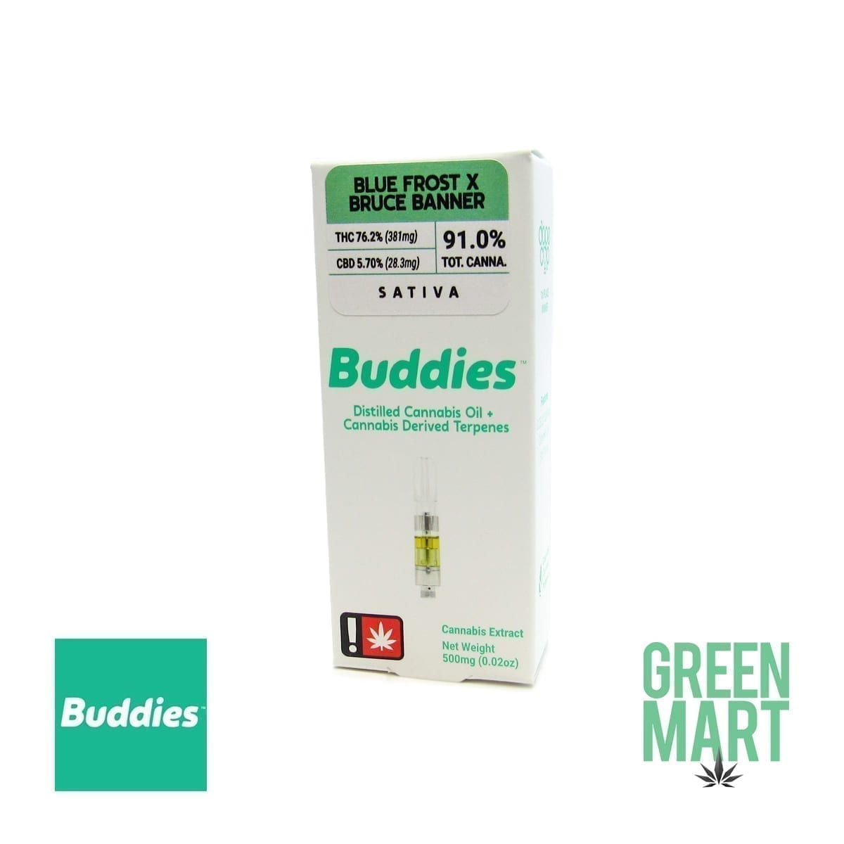 Buddies Brand Distillate Cartridge - Blue Frost X Bruce Banner