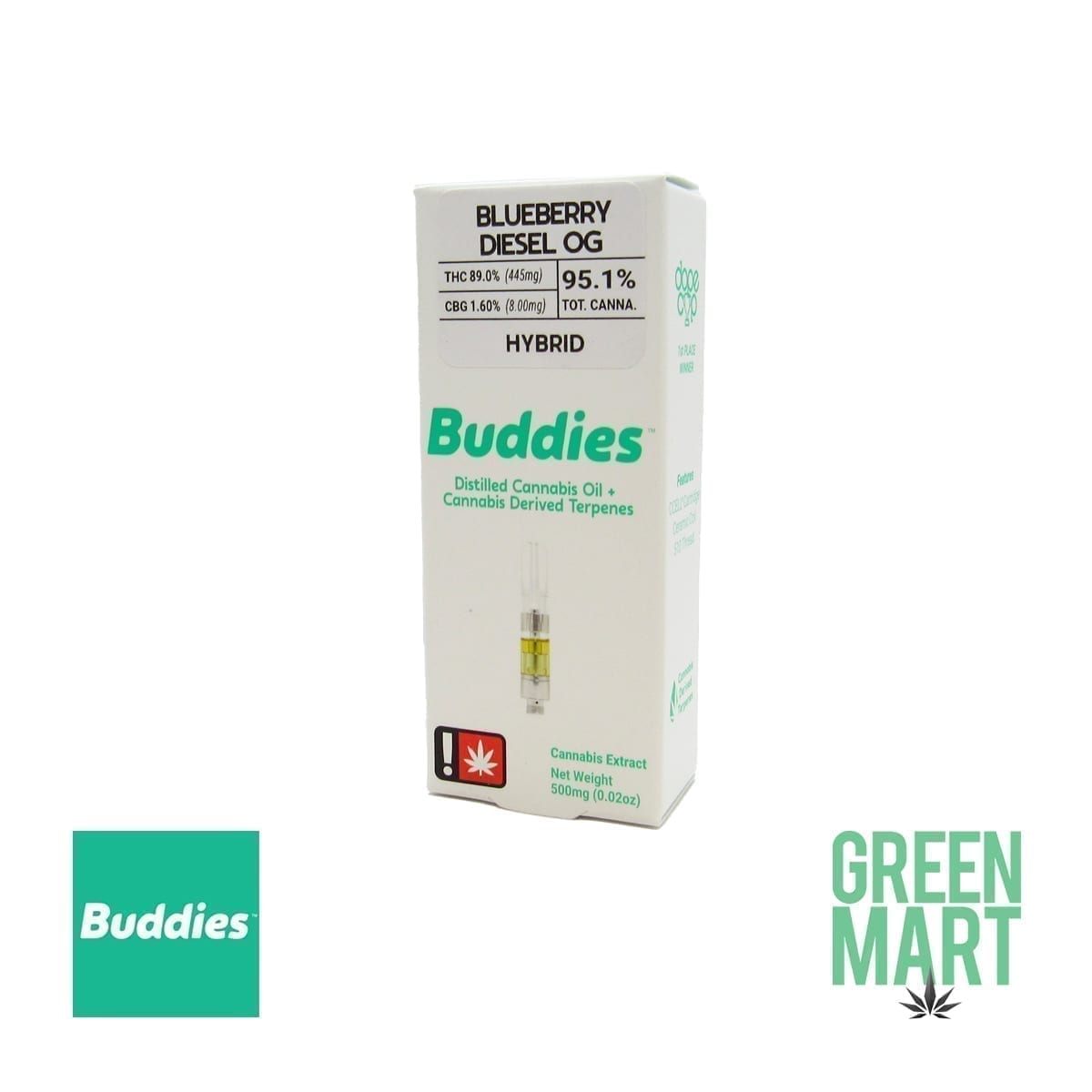 Buddies Brand Distillate Cartridge - Blueberry Diesel OG