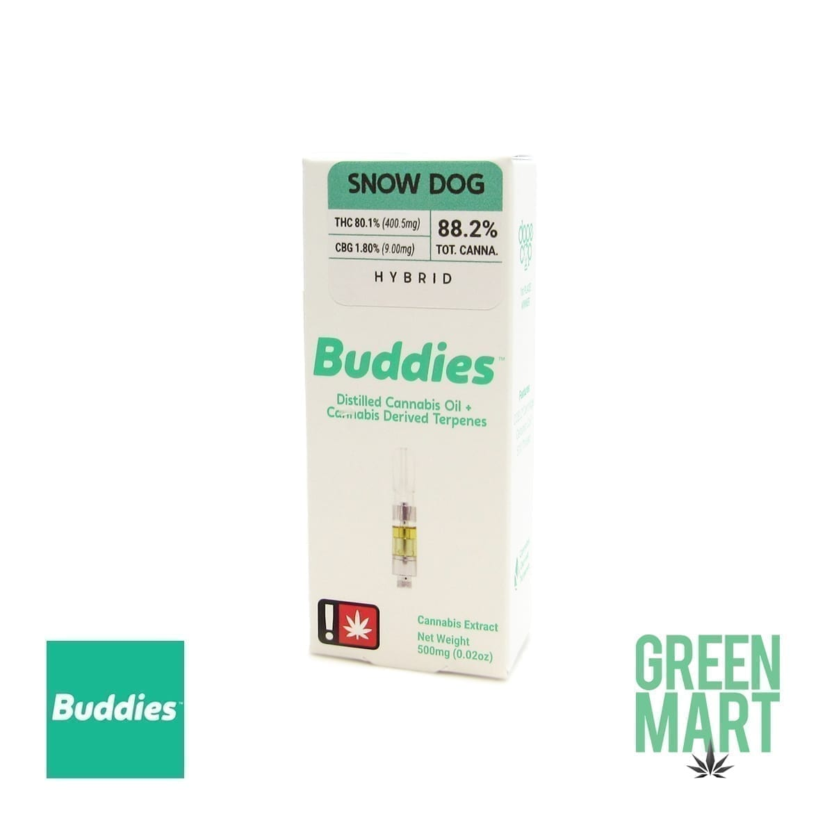 Buddies Brand Distillate Cartridge - Snow Dog