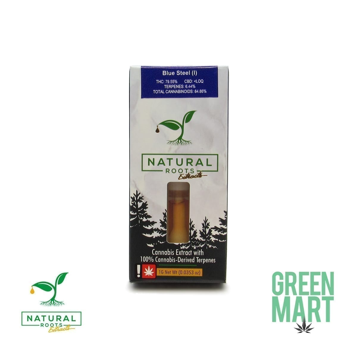 Natural Roots Distillate Cartridge - Blue Steel