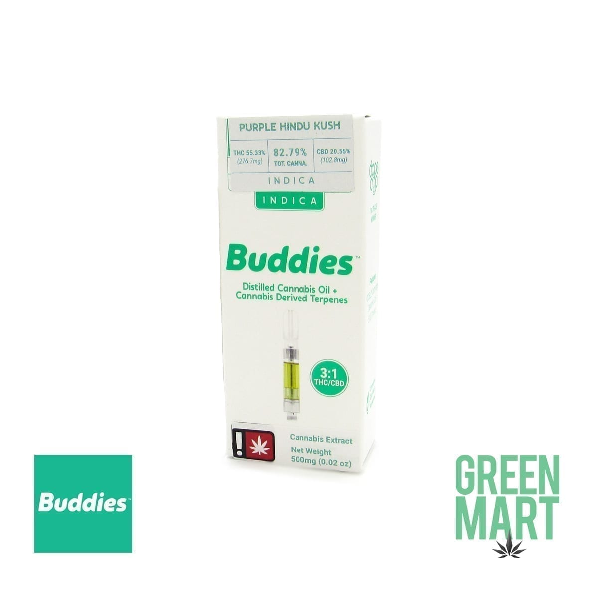 Buddies Brand Distillate Cartridge - Purple Hindu Kush