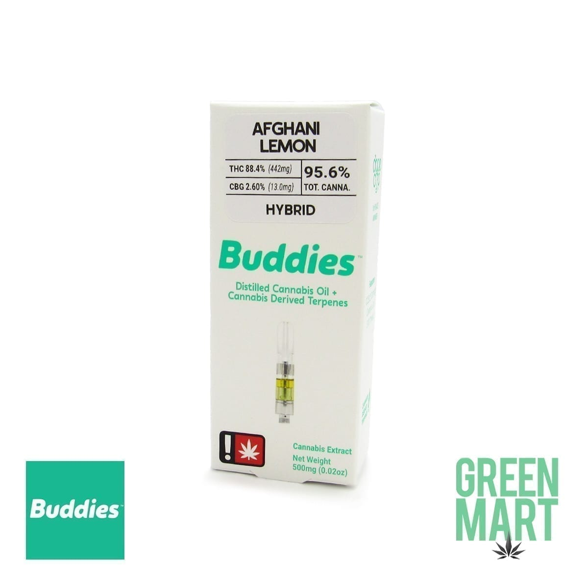 Buddies Brand Distillate Cartridge - Afghani Lemon