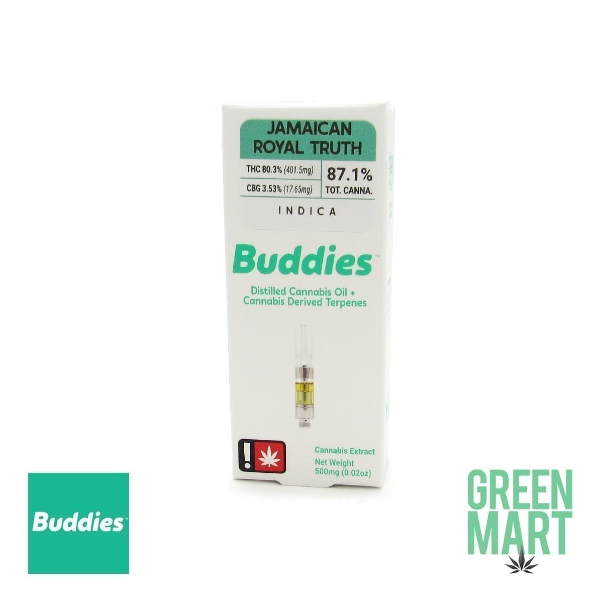 Buddies Brand Distillate Cartridge - Jamaican Royal Truth