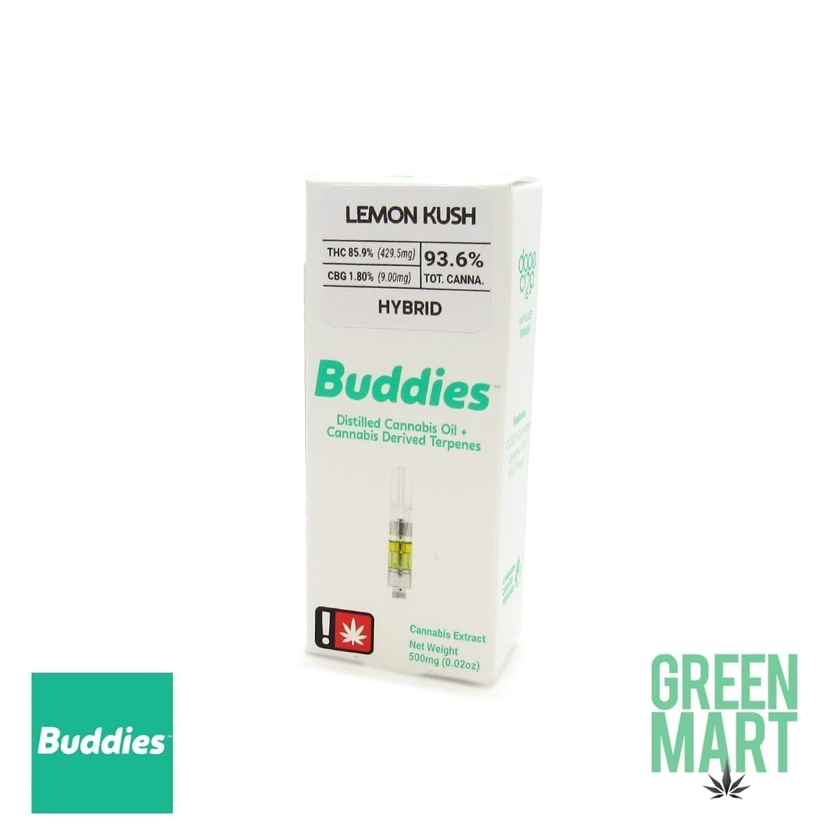 Buddies Brand Distillate Cartridge - Lemon Kush