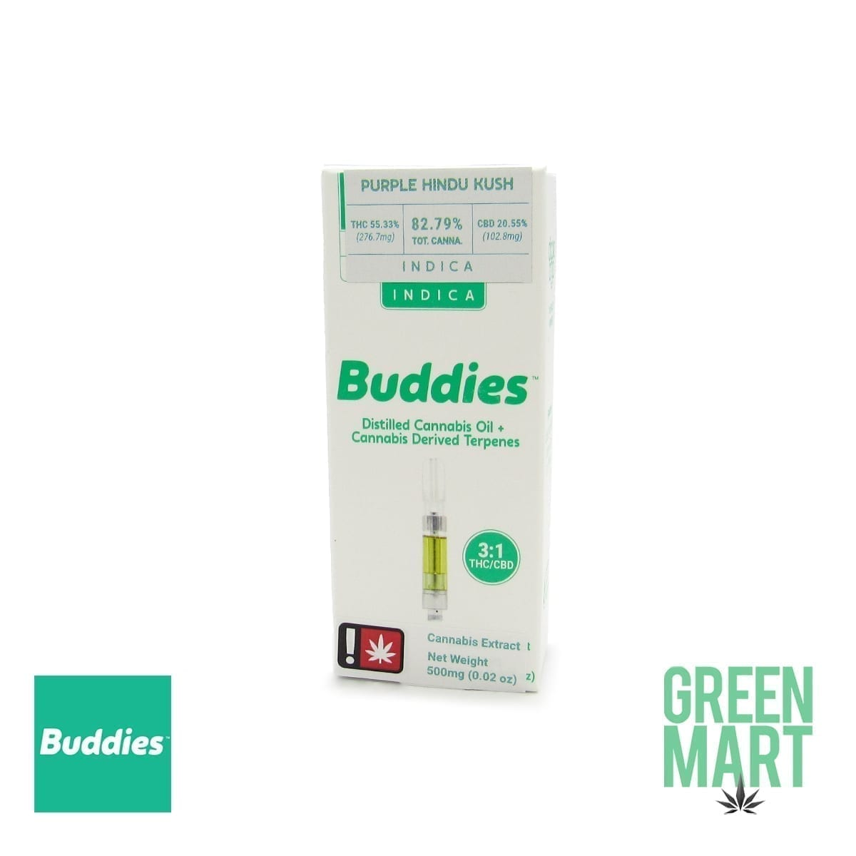 Buddies Brand Distillate Cartridge - CBD Purple Hindu Kush