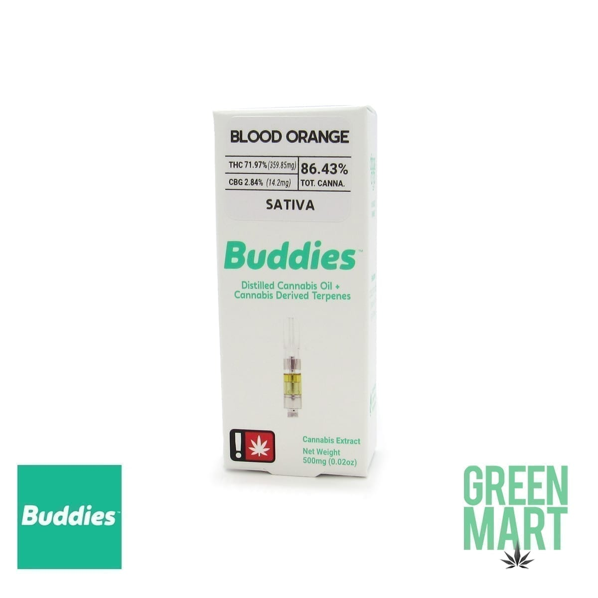 Buddies Brand Distillate Cartridge - Blood Orange